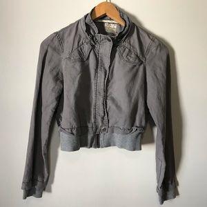 Free People Linen Moto Jacket Gray 0